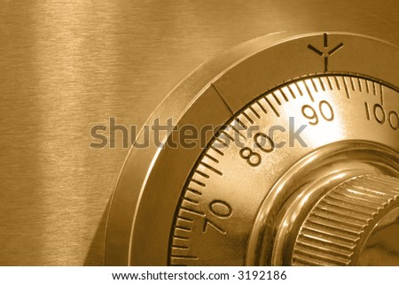 Combination safe lock, Version with golden tone. - stock photo