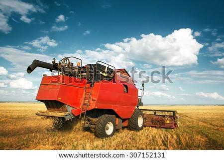 combine harvester - stock photo