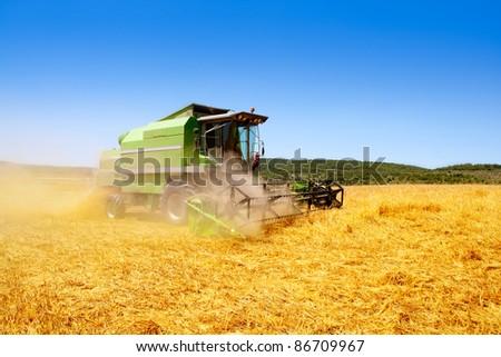 Combine harvester harvesting wheat cereal in spain field - stock photo