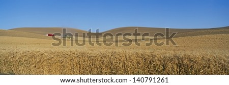 Combine harvester on the fields in South East Washington - stock photo