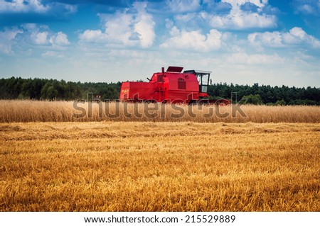 combine harvester working on a corn field