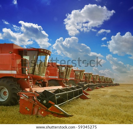 Combine harvesters - stock photo