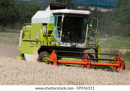 Combine harvesting corn on a German field. The corn stays in the combine while the stalks and husks get spit out at the back of the machine. - stock photo