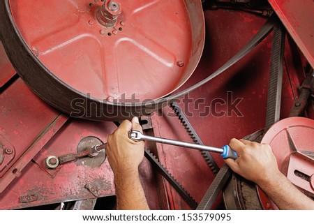 Combine machine service - stock photo