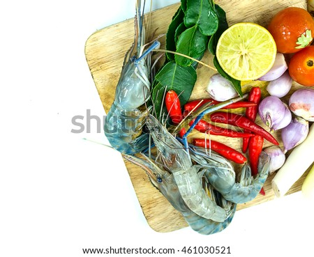 Combine shrimp soup spicy herbs Thai Food Tom Yum