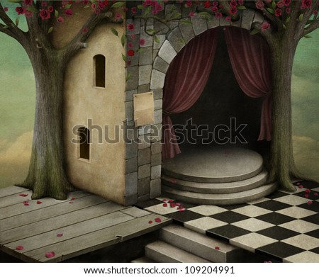 Combined background of the different rooms - stock photo