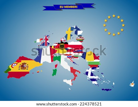 Combined flag maps of European Union countries  - stock photo