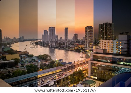 Combined image showing light change during sunset in Bangkok - stock photo