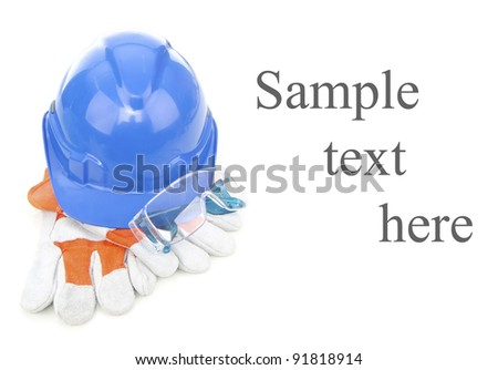 Combined of three item personal protective equipment (PPE) with input of sample text isolated on white background. - stock photo