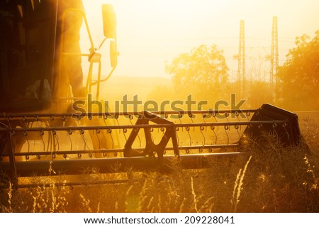 Combiner harvesting wheat field in detail - stock photo