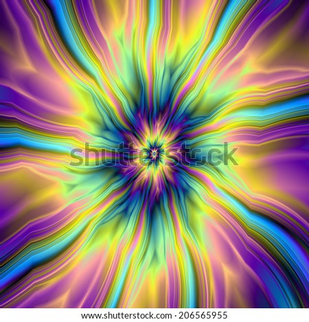 Combustion in Yellow Turquoise and Blue / A digital abstract fractal image with a combustion of color design in violet, turquoise, blue and yellow. - stock photo