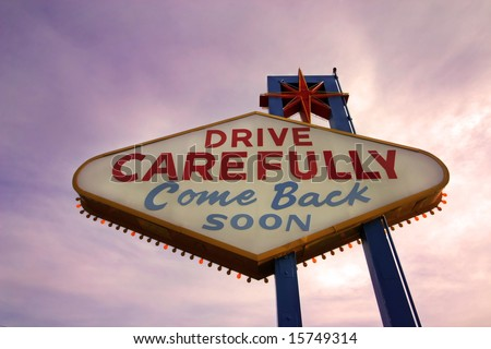 Come Back Soon Las Vegas Sign at Sunset - stock photo