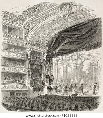 Comedie-Francaise theatre old illustration, Paris. Created by Guesdon, published on L'Illustration, Journal Universel, Paris, 1858 - stock photo