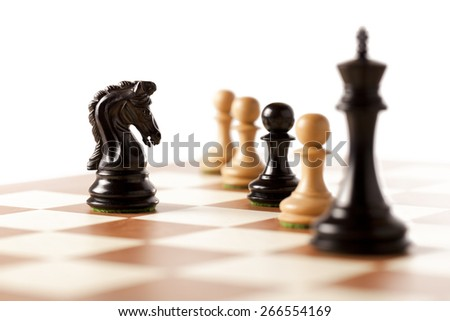 comeptitors meeting,playing chess - stock photo