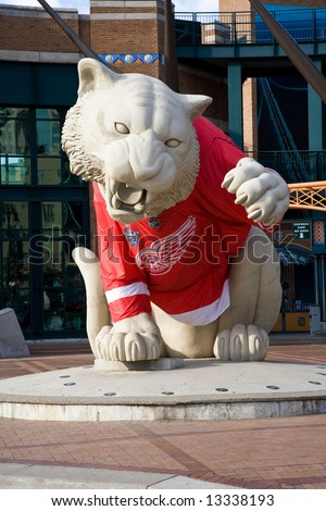 Comerica Baseball Park Tiger Dressed in Giant Detroit Red Wing Jersey - stock photo