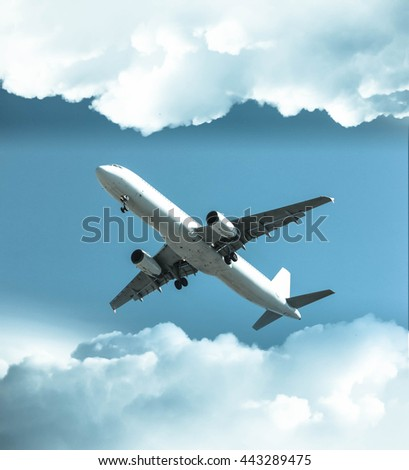 Comerical airplane landing with cloud  in retro effrect