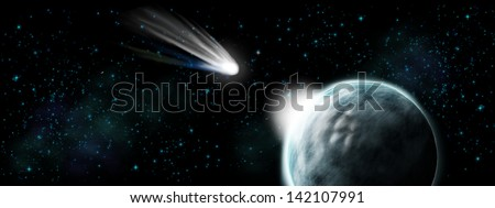 Comet hit on earth - apocalypse and end of time - stock photo