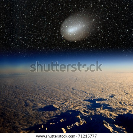 Comet impact on Earth. Combination of real photographs. Large image.