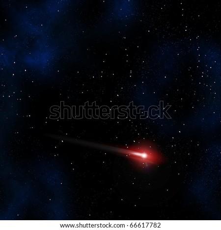 Comet in the night sky - stock photo