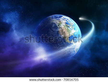 Comet passing earth in a nebula cloud ( earth uv map from http://visibleearth.nasa.gov ) - stock photo