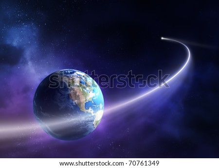 Comet passing in front of planet earth (3D uv map from http://visibleearth.nasa.gov) - stock photo