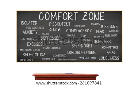 Comfort Zone: Anxiety, Loneliness, Fear, Isolated, Scared, Low Self Esteem, Hopeless, Insecure, Complacency blackboard isolated on white background