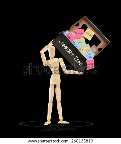 Comfort Zone box Mannequin isolated on black background - stock photo
