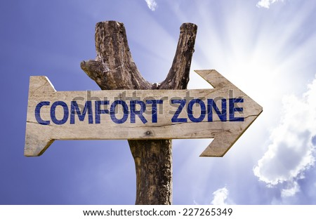 Comfort Zone wooden sign on a beautiful day - stock photo