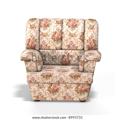 comfortable arm chair single with clipping path