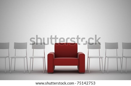 comfortable armchair between ordinary seats