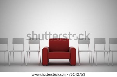 comfortable armchair between ordinary seats - stock photo