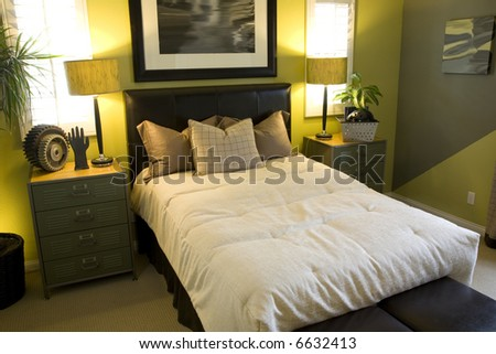Comfortable bedroom and luxurious decor. - stock photo