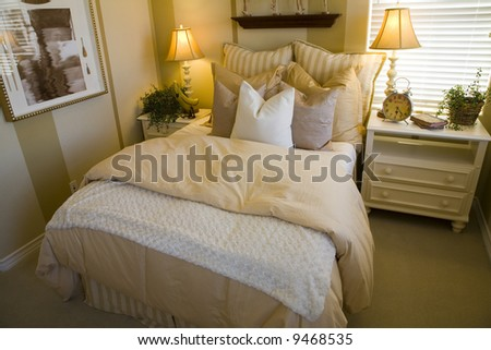 Comfortable bedroom and modern decor. - stock photo