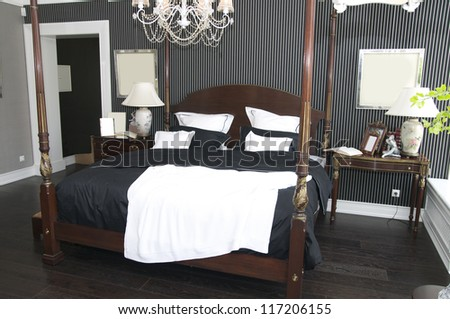 comfortable bedroom with an American-style - stock photo