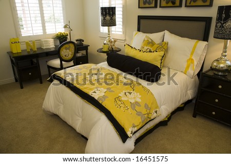 Comfortable bedroom with modern decor. - stock photo
