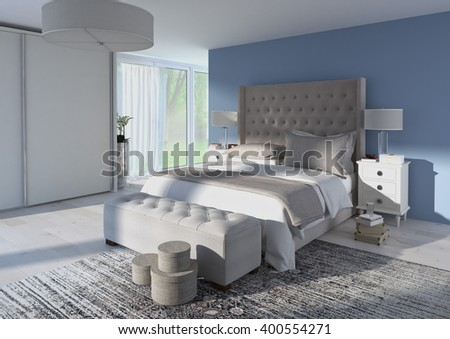 comfortable bedroom with nice decoration. 3d rendering - stock photo