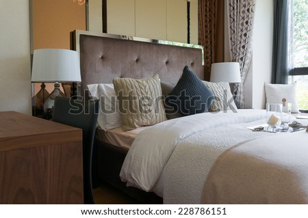comfortable bedroom with nice modern decoration