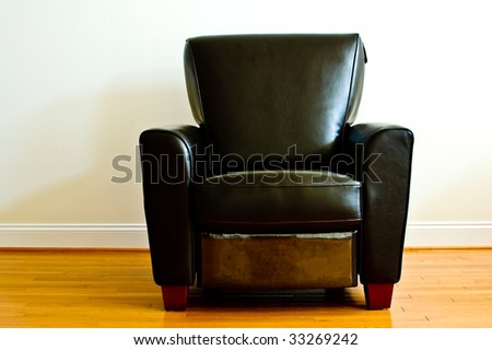 Comfortable Black Leather Chair - stock photo