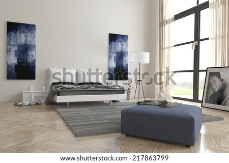 Comfortable contemporary grey and white bedroom interior with abstract wall art, large view window, double bed, ottoman and herringbone wooden parquet floor - stock photo