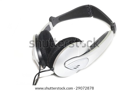 Comfortable high-quality headphones silver. White background.