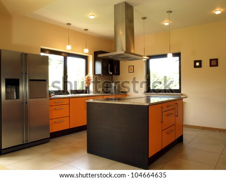 Comfortable kitchen interior with modern design - stock photo