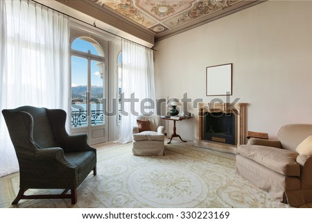 comfortable living room of a prestigious building - stock photo