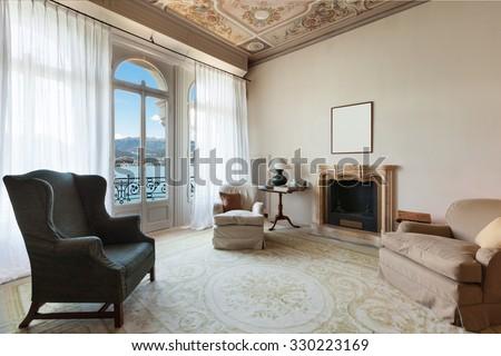 comfortable living room of a prestigious building - stock photo