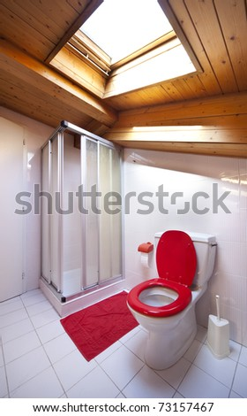 comfortable loft, bathroom with shower and toilet