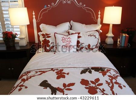 Comfortable luxury home bedroom with modern decor. - stock photo