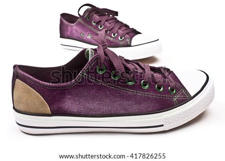 Comfortable men's sports sneakers. Convenient for sports mens sneakers in blue thick fabric on a white background. - stock photo