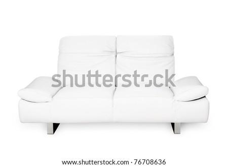 Comfortable modern sofa, white natural leather, elegant design, isolated on white background - stock photo