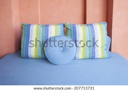comfortable pillow in room corner decorated by easy style - stock photo