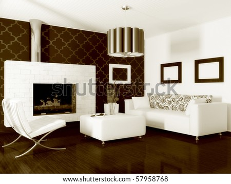comfortable room with white furniture  and  fireplace - stock photo