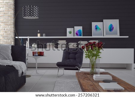 Comfortable simple black and white living room interior with a sofa, chair, cabinet with books and art, and red roses in a vase on a coffee table. 3d Rendering. - stock photo